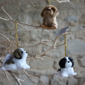 Faux Fur Puppies hanging decorations  Sml