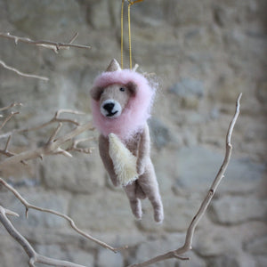 Lion with pink mane carrying Tree, Felt Hanging