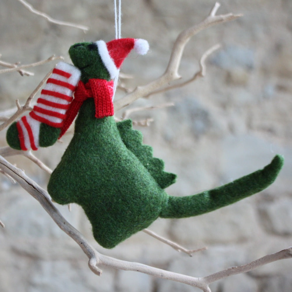 Wool Mix Dinosaur with Hat/Stocking Decoration