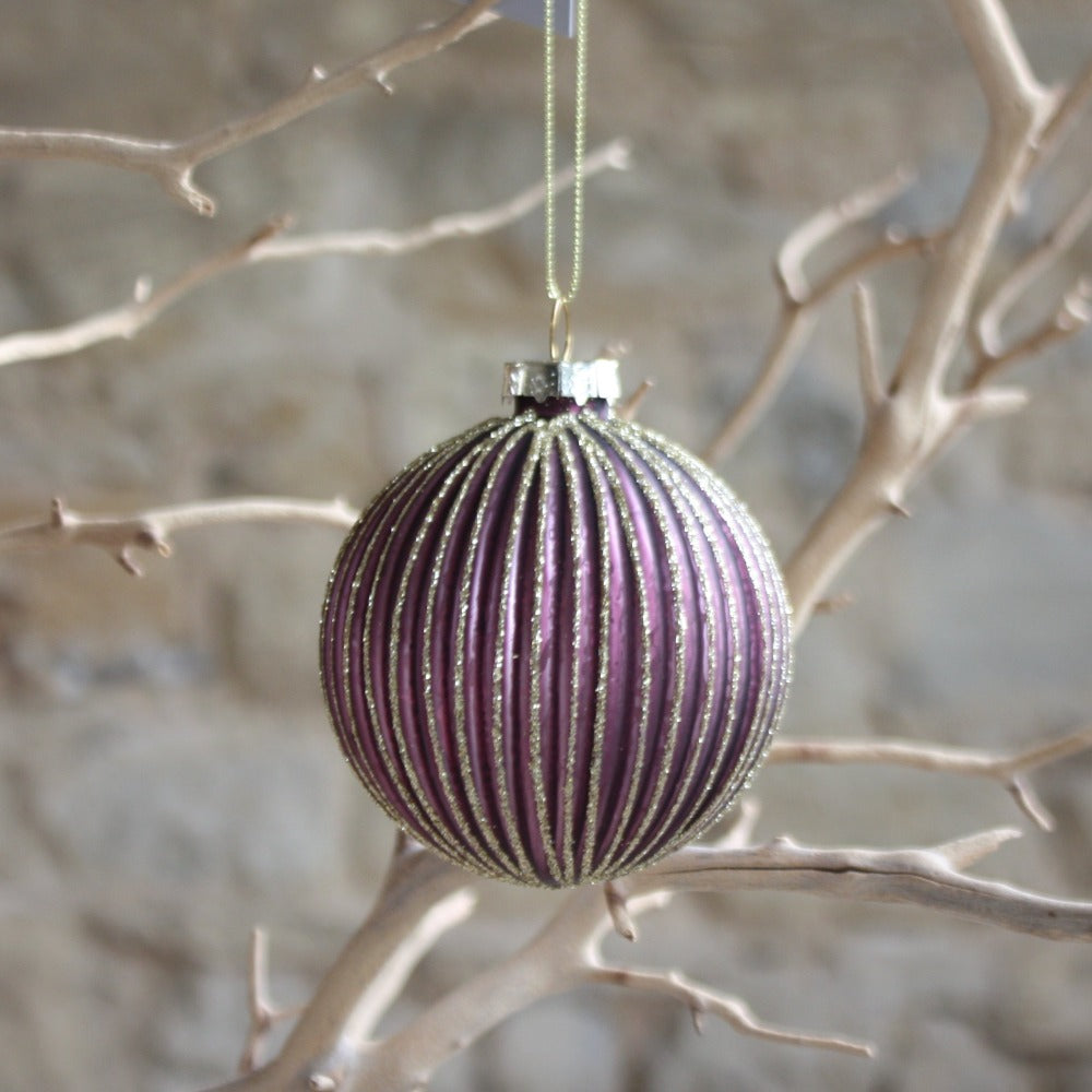 Matt Plum/Gold Glitter Ribbed Glass Ball