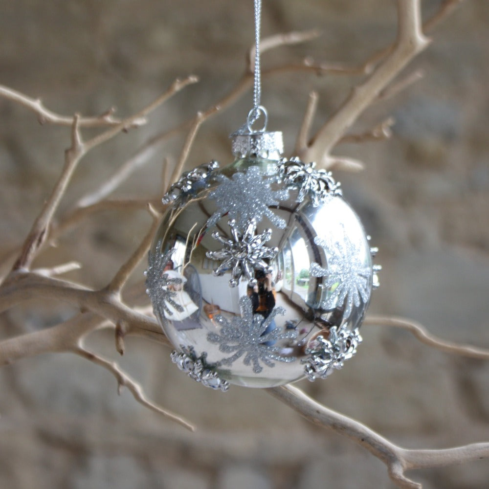 Silver Glass Bauble with Silver Raised Stars