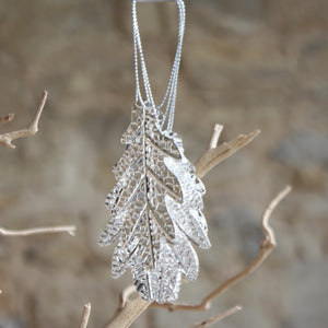 Silver coloured cut of leaves