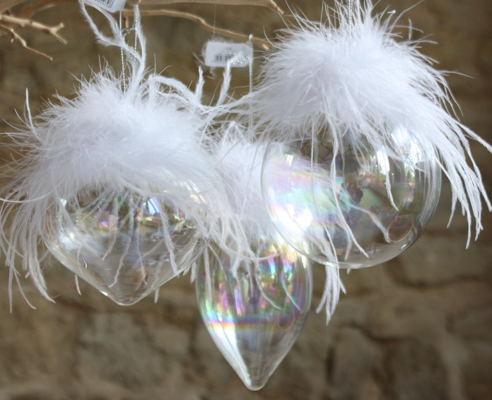 Glass soap Bubble Baubles with White Feathers