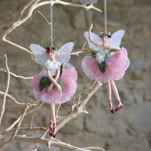 White/Pink Resin/Fabric Hellebore Fairy