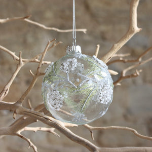 Glass Bauble with Green/Bead Fir/Berries