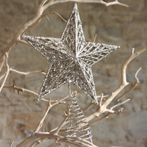 Gold Glitter Moulded Tree Top Star