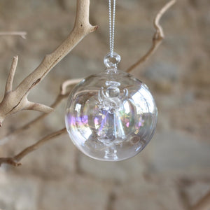 Iridescent Bauble with Glass Angel