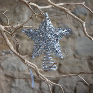Silver Wire/Mesh Tree Top Star