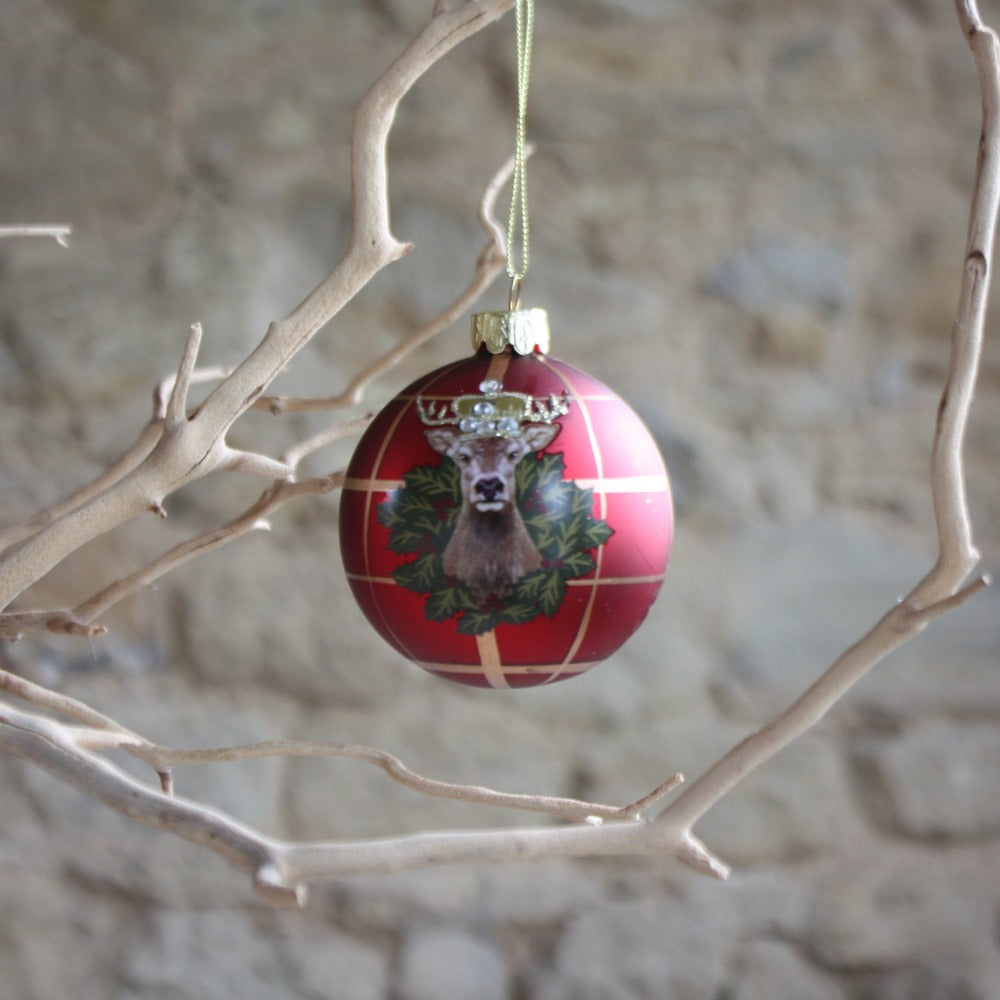 Stag Head Glass Bauble