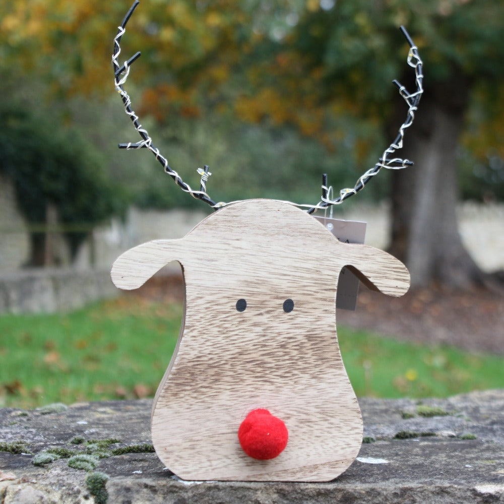 Wood LED Reindeer Head Orn