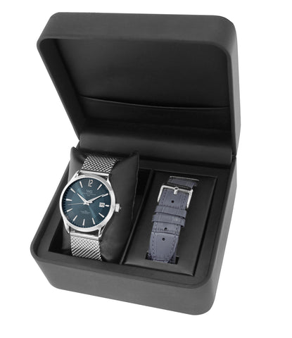 BWG30090-208 William Gregor watch set - Metal bracelet with interchangeable leather bracelet - Blue Dial