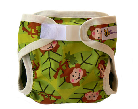 Baby Beehinds PUL Cloth Nappy Cover in Monkey Fun (size: SMALL ~4-8kg)