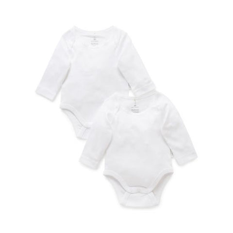 Purebaby Easy Neck Long Sleeve Body Suit 2 Pack