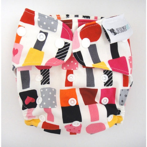 Designer Bums Reusable Nappy One-Size-Fits-Most (OSFM) in 'NAIL POLISH ADDICT'