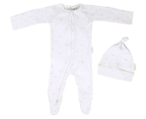 Purebaby Essentials Newborn Gift Set Pale Pink Leaf with Spot in 0000