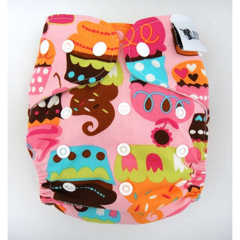 Designer Bums Reusable Nappy One-Size-Fits-Most (OSFM) in 'SPRINKLES CUPCAKES'