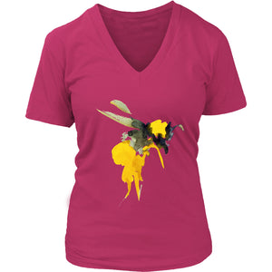 Painted Bee - Women's V-Neck Tee