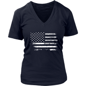 Unmasked Unmuzzled Unvaccinated Unafraid - Women's V-Neck Tee