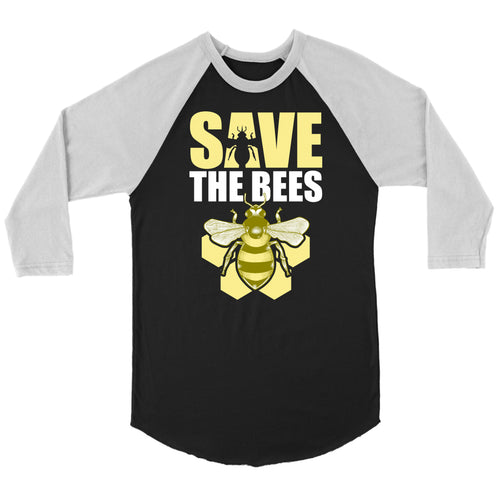 Save the Bees (Honeycomb) - 3/4 Raglan Tee