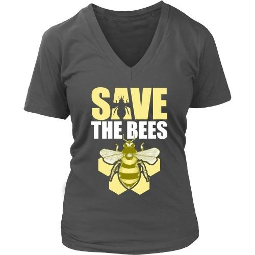 T-shirt - Save The Bees (Honeycomb) - Women's V-Neck