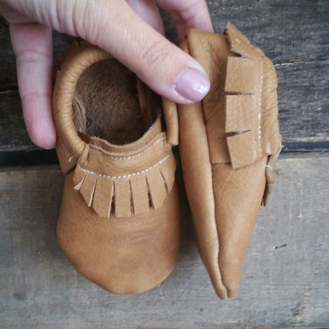 Ready to ship tan mocc short fringe