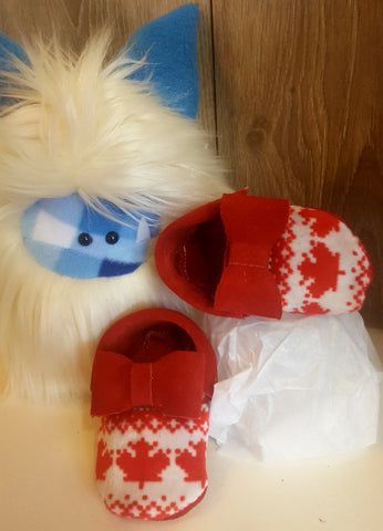Ready to ship Red suede bow moccs with Canadian toe topper