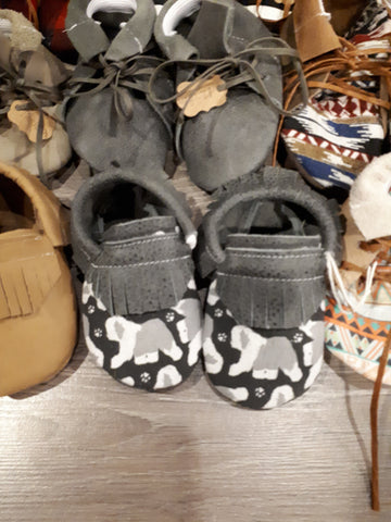 Grey moccs with Old English sheepdog toe topper short fringe and black lacing bow