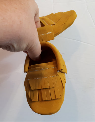 Mustard suede moccs with double fringe