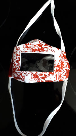 Red/White maple leaf print face mask