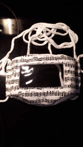 Sheet music black on white print face mask