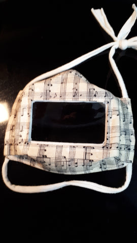 Sheet music black on parchment print face mask