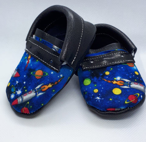Rockets and space print toe topper Navy vegan leather moccs SALE