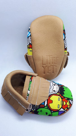 Super hero print tan leather moccs SALE