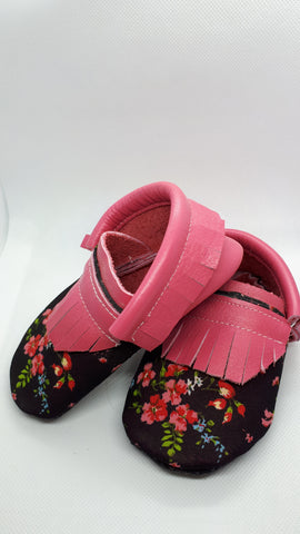 Raspberry leather moccs with floral print on black SALE