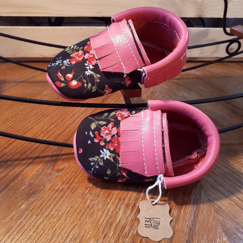 Ready to ship pink leather floral moccs