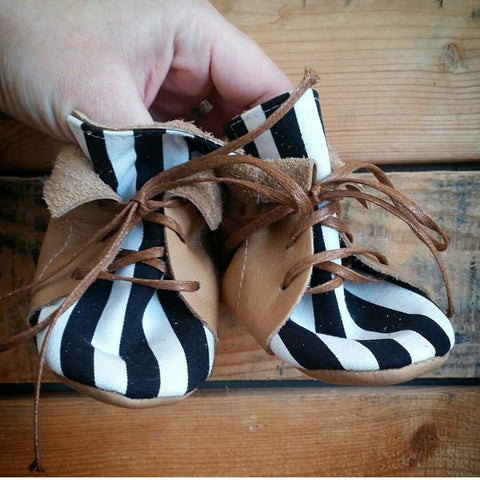Ready to ship tan striped fold top baby boot