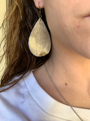 Tear Drop Cowhide Earrings