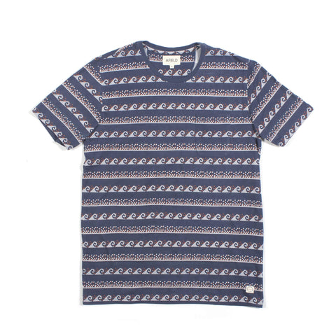 Grecian Waves Pocket Tee Navy