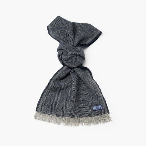 Annandale Herringbone Wool Scarf Light Ink Blue
