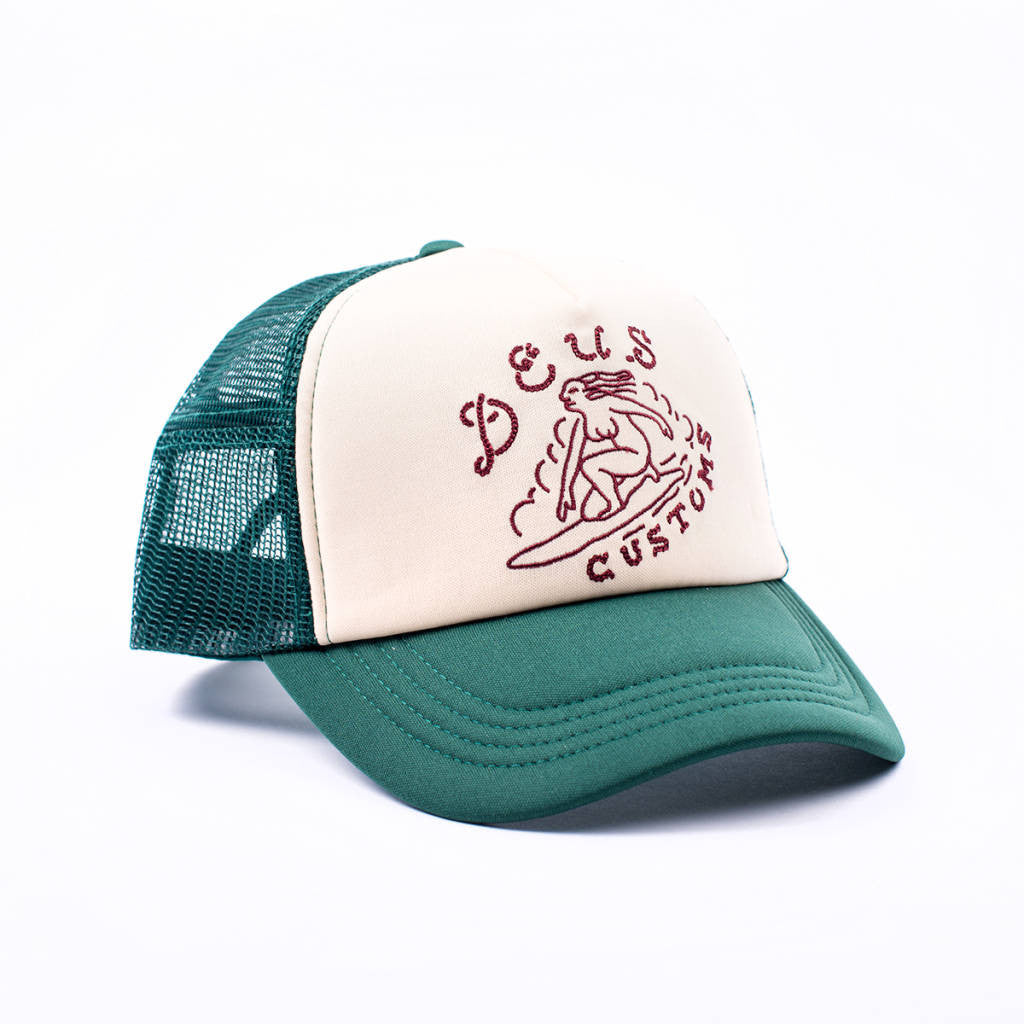 Surf Girl Trucker Hat Dark Green