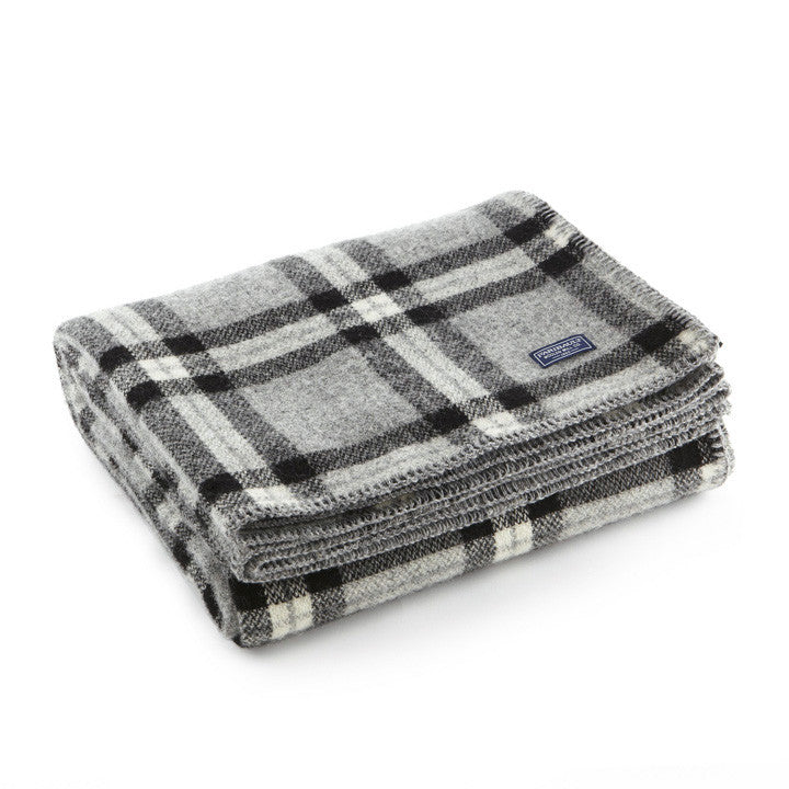 SoHo Wool Throw Grey Black Plaid