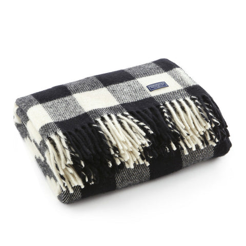 Buffalo Check Wool Throw Black White