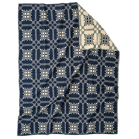 Jacquard Navy Wool Blanket