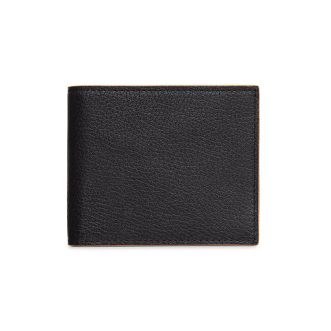 Mason Leather Bill Holder Black Orange