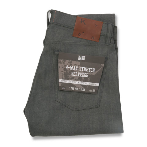 """The Pen"" 10.5 oz Slim 4-Way Stretch Selvedge - Grey"