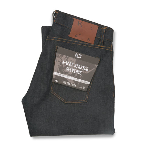 """The Pen"" 10.5 oz Slim 4-Way Stretch Selvedge - Raw Indigo"