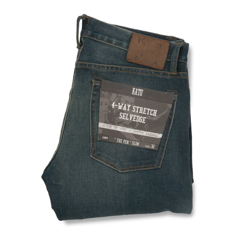 """The Pen"" 10.5 oz Slim 4-Way Stretch Selvedge - Rain Wash"