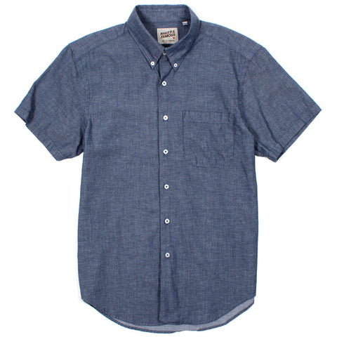 Regular Short Sleeve Blue Nep Chambray