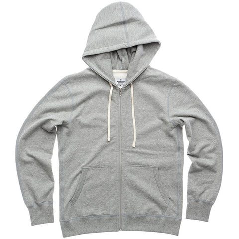 Full Zip Mid-Weight Hoodie Heather Grey