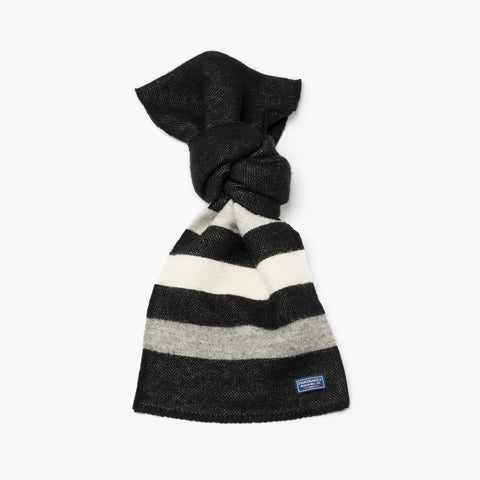 Revival Stripe Wool Scarf Black and Heather Grey